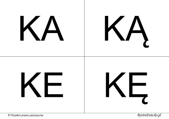 Nauka czytania dla dzieci sylabami - K (KA, KĄ, KE, KĘ)