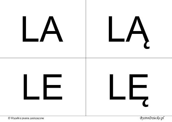 Nauka czytania dla dzieci sylabami - L (LA, LĄ, LE, LĘ)
