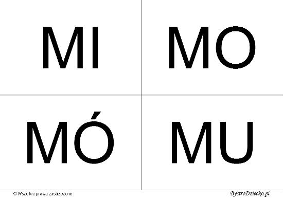 Nauka czytania dla dzieci sylabami - M (MI, MO, MÓ, MU)