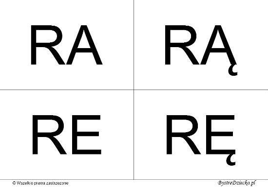 Nauka czytania dla dzieci sylabami - R (RA, RĄ, RE, RĘ)