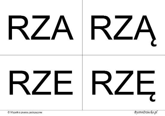 Nauka czytania dla dzieci sylabami - RZ (RZA, RZĄ, RZE, RZĘ)