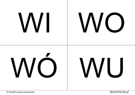 Nauka czytania dla dzieci sylabami - W (WI, WO, WÓ, WU)