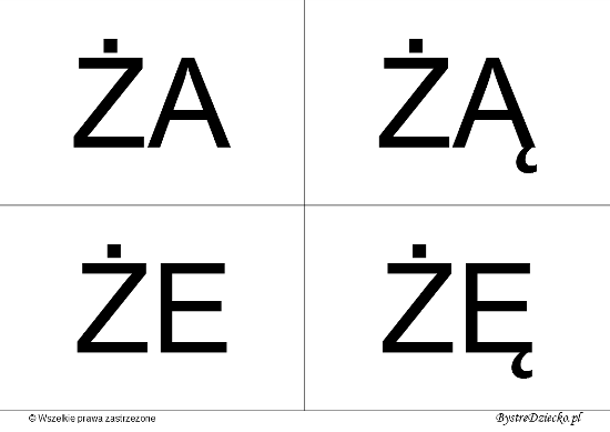 Nauka czytania dla dzieci sylabami - Ż (ŻA, ŻĄ, ŻE, ŻĘ)