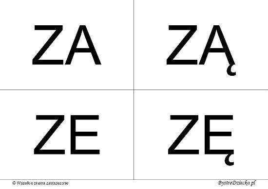 Nauka czytania dla dzieci sylabami - Z (ZA, ZĄ, ZE, ZĘ)