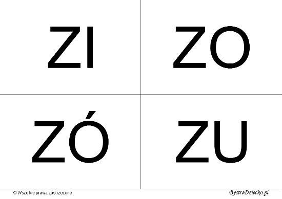 Nauka czytania dla dzieci sylabami - Z (ZI, ZO, ZÓ, ZU)