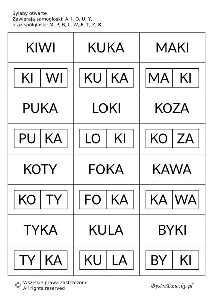 Proste wyrazy z podziałem na sylaby otwarte do nauki czytania metodą sylabową