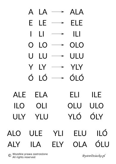 Nauka czytania sylabami - samogłoska i sylaba otwarta z literą L