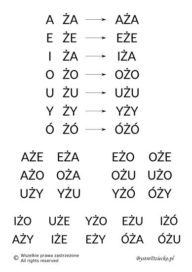 Nauka czytania sylabami - samogłoska i sylaba otwarta zawierająca dwuznak Ż