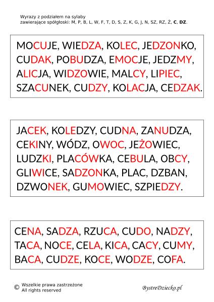 Wyrazy, zdania i teksty z podziałem na sylaby pisane kolorową czcionką - nauka czytania dla dzieci metodą sylabową - MPBL C, DZ