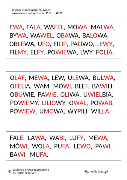 Wyrazy, zdania i teksty z podziałem na sylaby pisane dwoma kolorami czcionki - nauka czytania dla dzieci metodą sylabową - MPBL WF