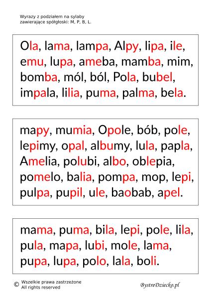 Nauka czytania sylabami - Wyrazy, zdania i teksty z podziałem na sylaby