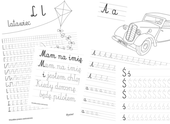 Printable handwriting worksheets for kids - cursive letters and numbers, Anna Kubczak