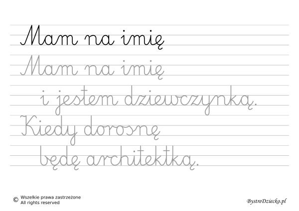 Nauka pisania dla dzieci, zawody, kiedy dorosnę będę architektką