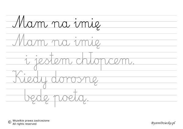 Nauka pisania dla dzieci, zawody, kiedy dorosnę będę poetą