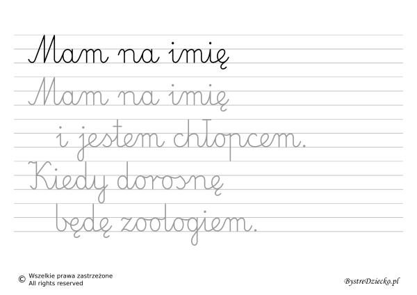 Nauka pisania dla dzieci, zawody, kiedy dorosnę będę zoologiem