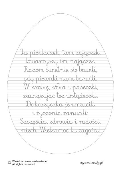Życzenia na Wielkanoc do pisania po śladzie - wiersze dla dzieci i nauka pisania