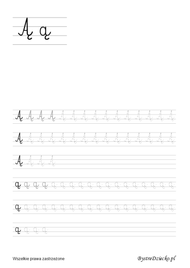 Letter A ogonek = Ą, Printable tracing letters worksheets for kids that prepare for writing, with coloring pages, Anna Kubczak
