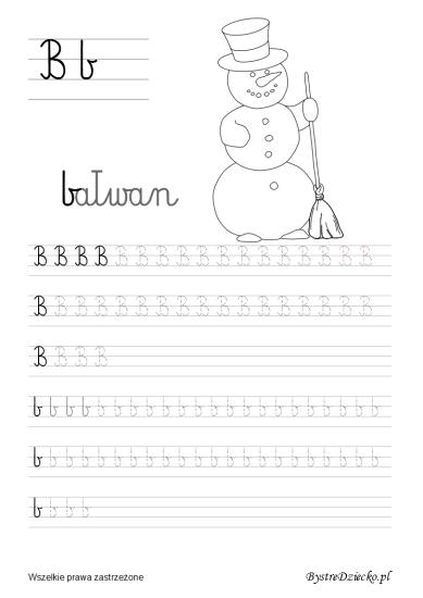 B Jak Bałwan Nauka Pisania Dla Dzieci Bystre Dziecko