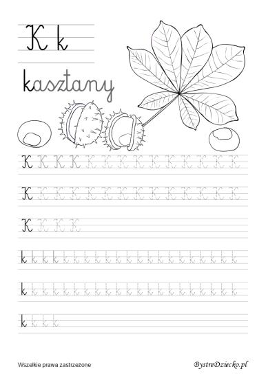 K Literki dla dzieci z kolorowankami - nauka pisania liter, Anna Kubczak