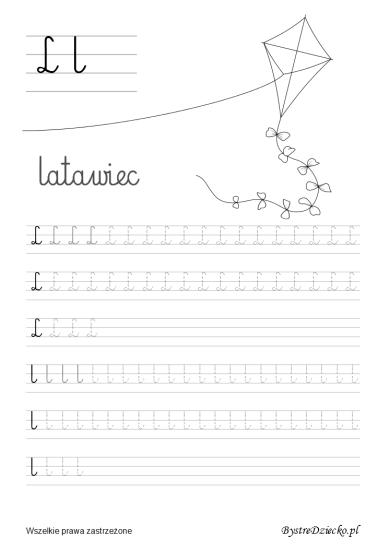L jak latawiec, Literki dla dzieci z kolorowankami - nauka pisania liter, Anna Kubczak