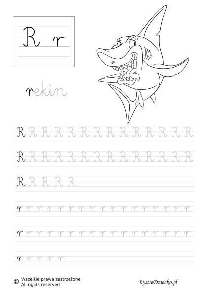 R Literki dla dzieci z kolorowankami - nauka pisania liter, alfabet ze zwierzętami