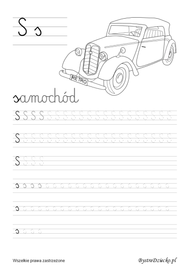 Tracing letters S, Handwriting worksheets for kids - cursive letters writing, Anna Kubczak