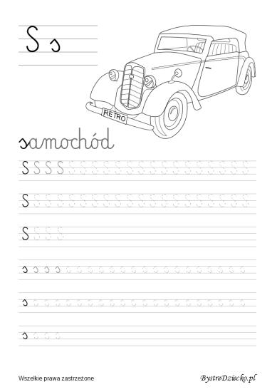 S jak samochód, Literki dla dzieci z kolorowankami - nauka pisania liter, Anna Kubczak