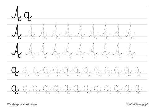Letter A ogonek = Ą, Printable cursive handwriting worksheets for kids that prepare to writing, Anna Kubczak