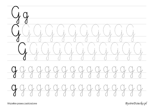 Letter G, Printable cursive handwriting worksheets for kids that prepare to writing, Anna Kubczak