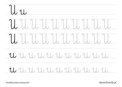Letter U, Printable cursive handwriting worksheets for kids that prepare to writing, Anna Kubczak