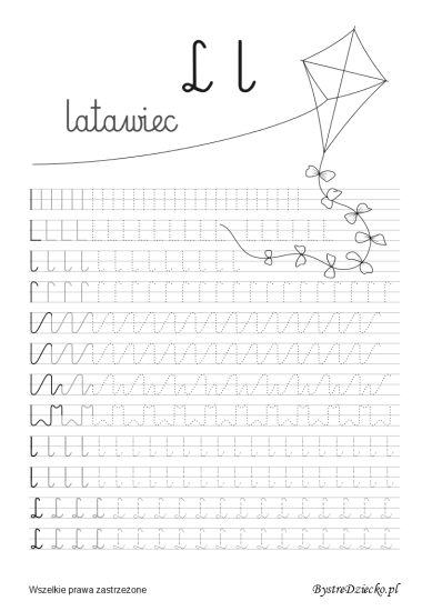 Letter L, Printable tracing lines with free handwriting worksheets for kids, Anna Kubczak
