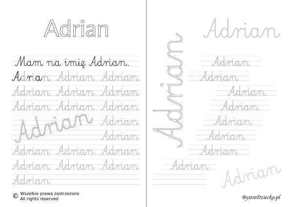 Karty pracy z imionami - nauka pisania imion dla dzieci - Adrian