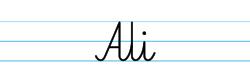 Karty pracy z imionami - nauka pisania imion dla dzieci - Ali