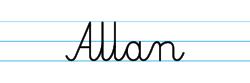 Karty pracy z imionami - nauka pisania imion dla dzieci - Allan