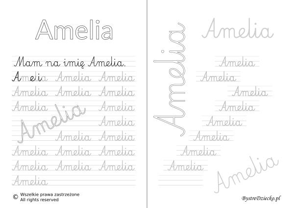 Karty pracy z imionami - nauka pisania imion dla dzieci - Amelia