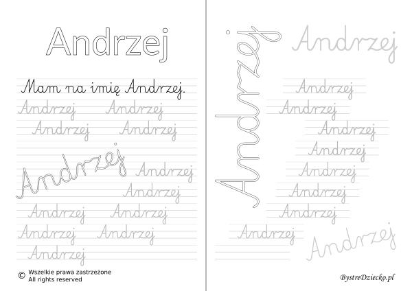 Karty pracy z imionami - nauka pisania imion dla dzieci - Andrzej