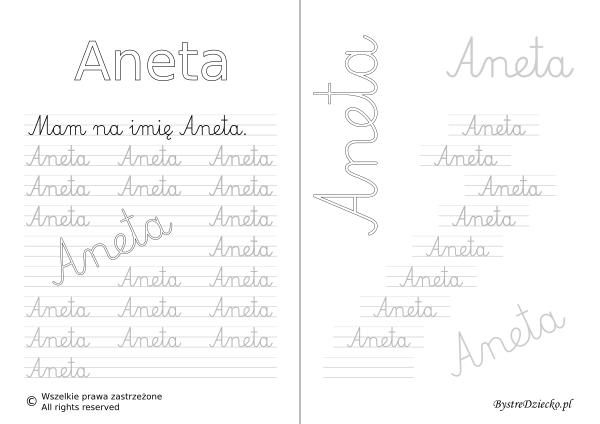 Karty pracy z imionami - nauka pisania imion dla dzieci - Aneta