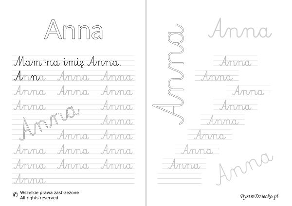 Karty pracy z imionami - nauka pisania imion dla dzieci - Anna
