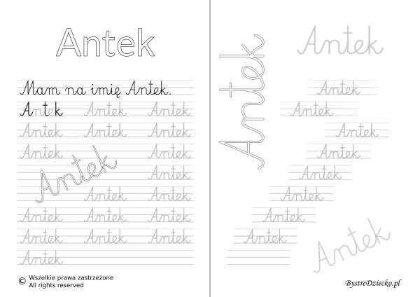 Karty pracy z imionami - nauka pisania imion dla dzieci - Antek