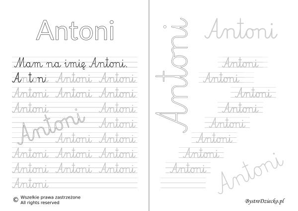 Karty pracy z imionami - nauka pisania imion dla dzieci - Antoni