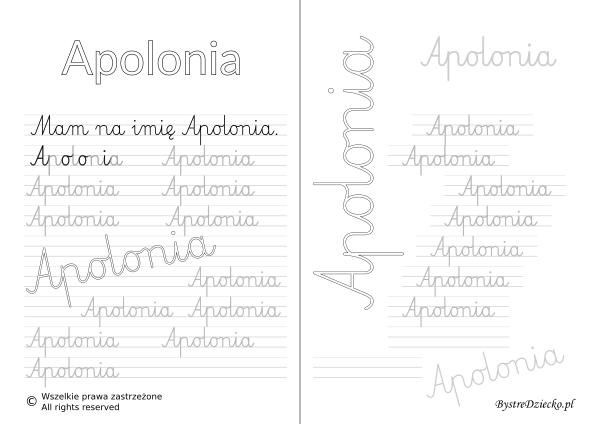 Karty pracy z imionami - nauka pisania imion dla dzieci - Apolonia