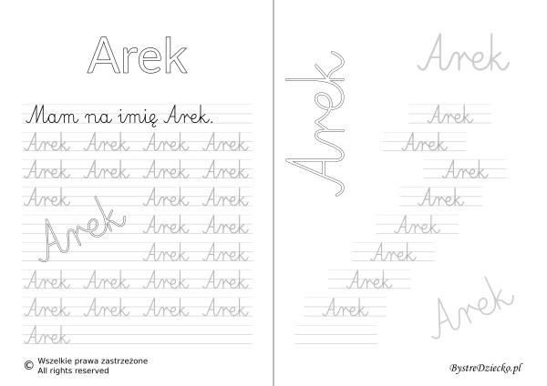 Karty pracy z imionami - nauka pisania imion dla dzieci - Arek