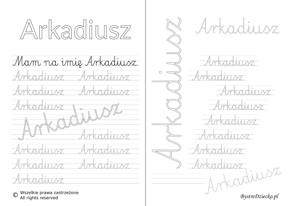 Karty pracy z imionami - nauka pisania imion dla dzieci - Arkadiusz