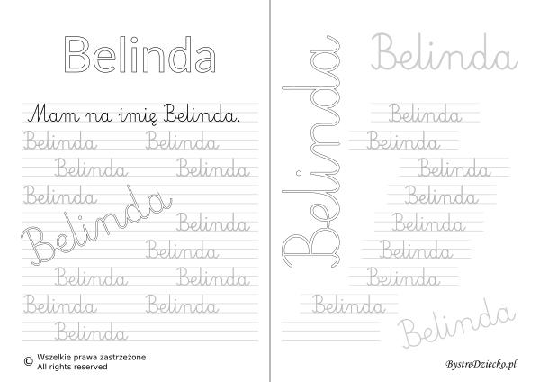 Karty pracy z imionami - nauka pisania imion dla dzieci - Belinda