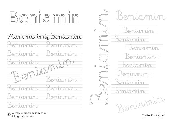 Karty pracy z imionami - nauka pisania imion dla dzieci - Beniamin