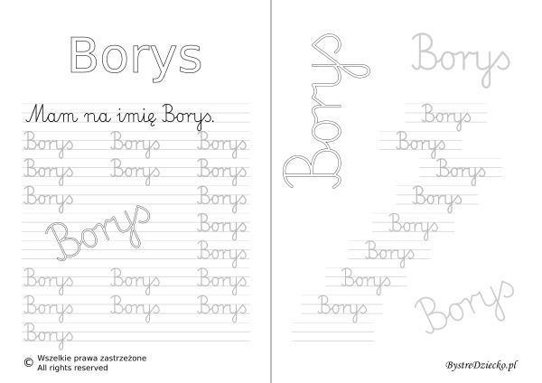 Karty pracy z imionami - nauka pisania imion dla dzieci - Borys