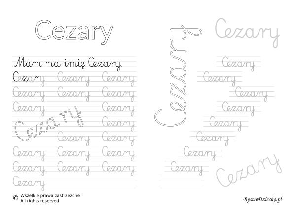 Karty pracy z imionami - nauka pisania imion dla dzieci - Cezary