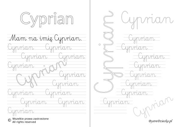 Karty pracy z imionami - nauka pisania imion dla dzieci - Cyprian
