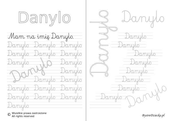 Karty pracy z imionami - nauka pisania imion dla dzieci - Danylo
