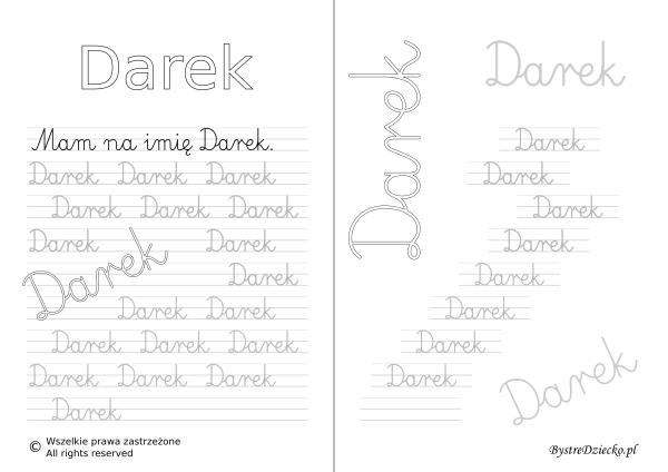 Karty pracy z imionami - nauka pisania imion dla dzieci - Darek